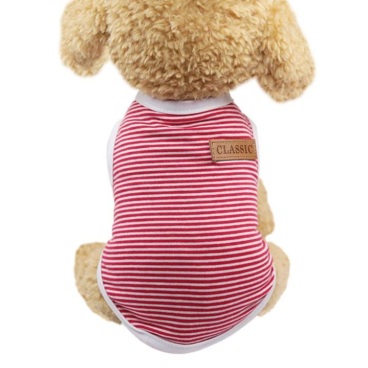 Striped Classic Badge Summer Comfy Outfit Dog Shirt