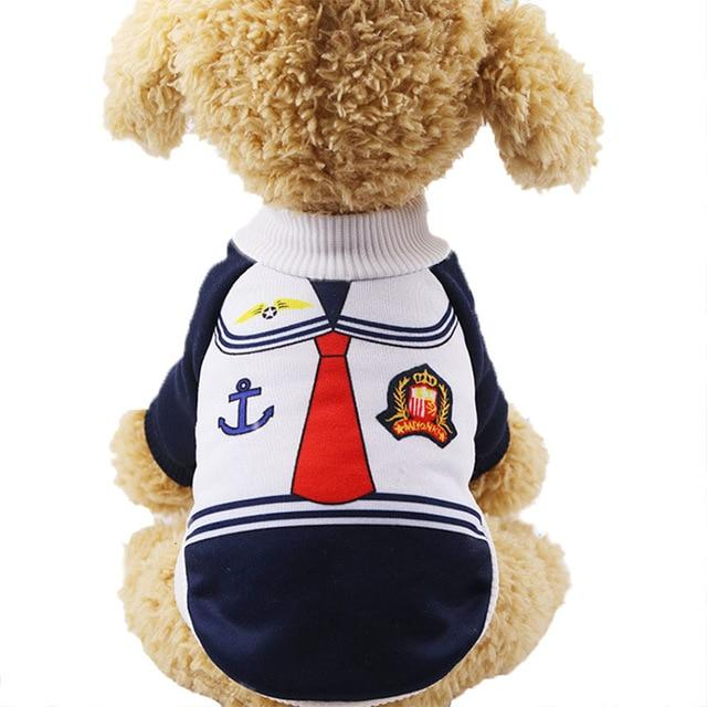 Cute Little Sailor Warm Winter Outfit Small Dog Sweater