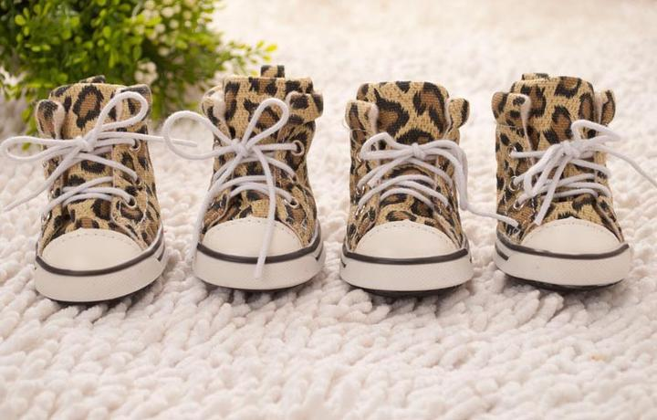 Leopard Rubber Anti-Slid Boots Sneakers Type Dog Shoes