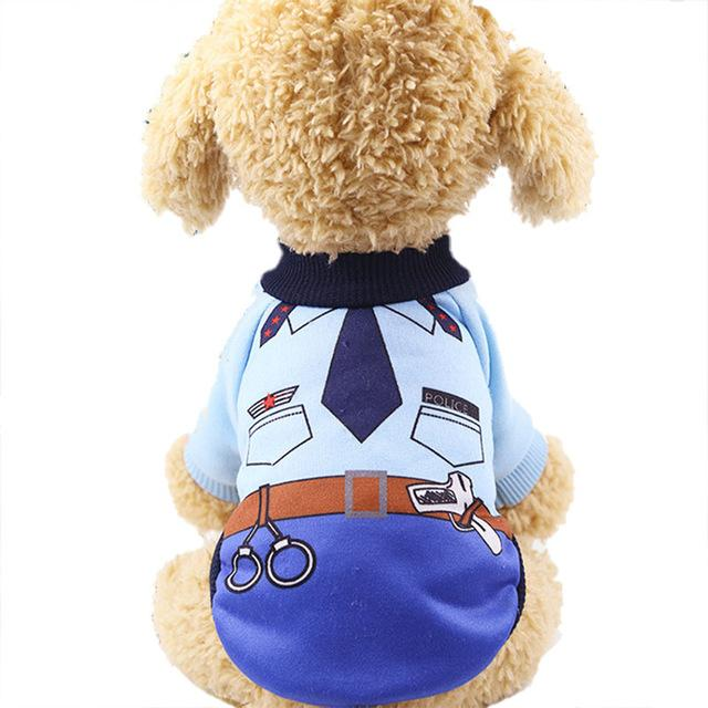 Little Dog Police Outfit Warm Winter Puppy Sweatshirt