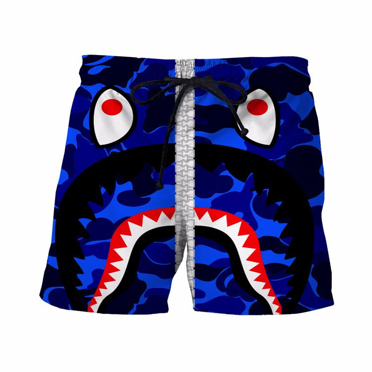 Army Camouflage Military Print Funny Crazy Shark Blue 3D Boardshorts