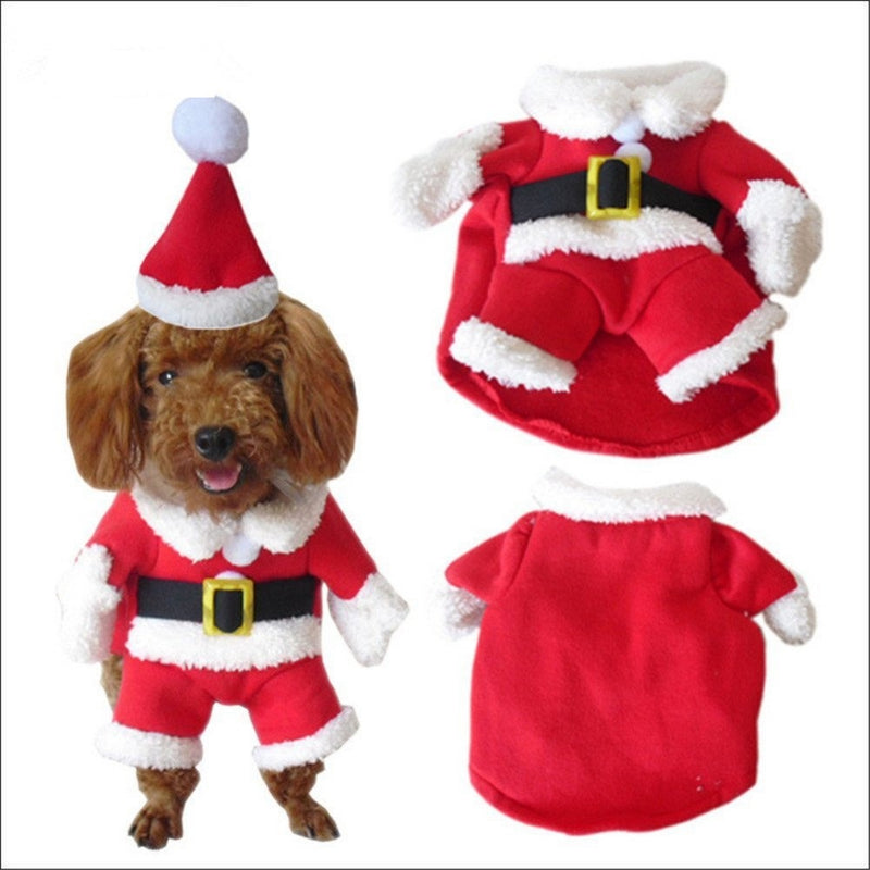 Jolly Christmas Santa Claus Winter Suit With Cap For Dogs - Woof Apparel