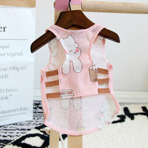 Adorable Bunny Design Pink Breathable Puppy Tank Top - Woof Apparel