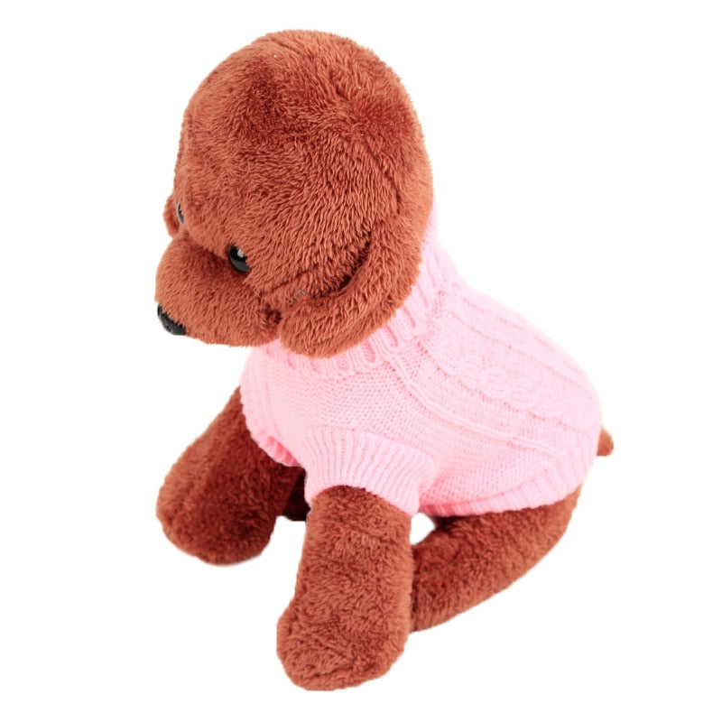 4 Colors Warm Winter Knitted Dog Sweater Coat For Small Dog - Woof Apparel