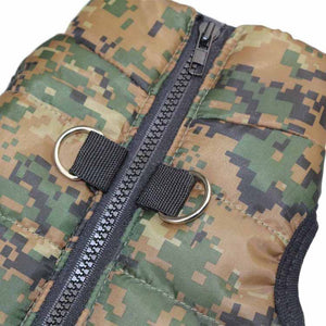 Camouflage Winter Vest With Leash Buckle For Small Dogs - Woof Apparel
