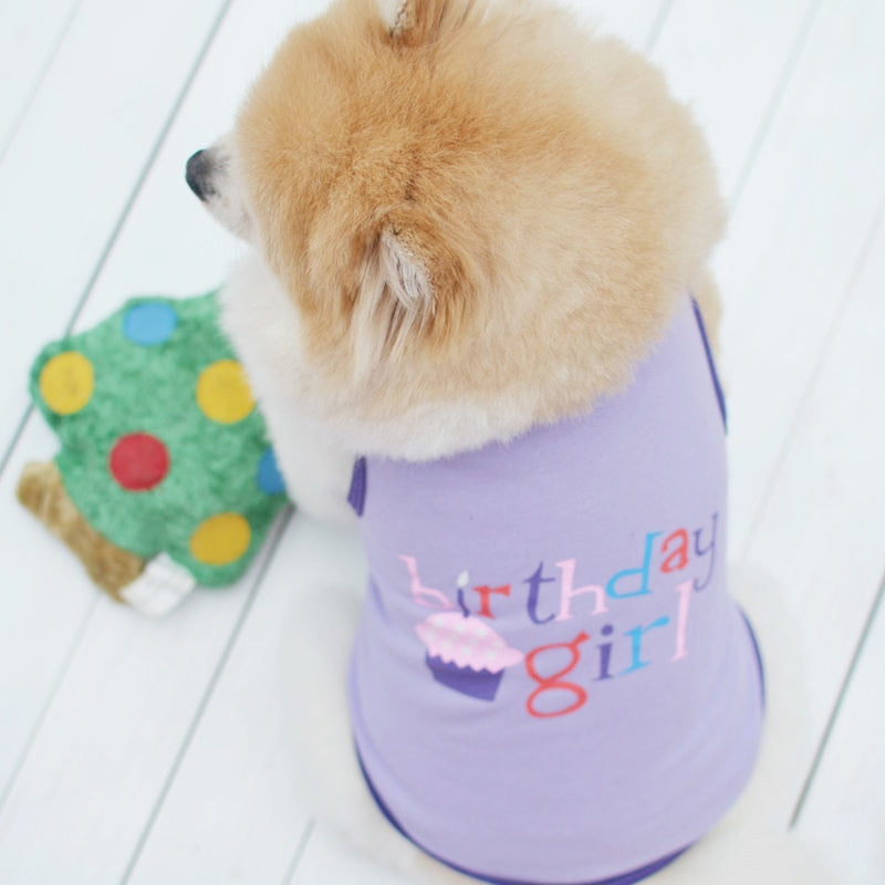 Cute Birthday Girl Design Purple Summer Small Dog Tank Top Woof