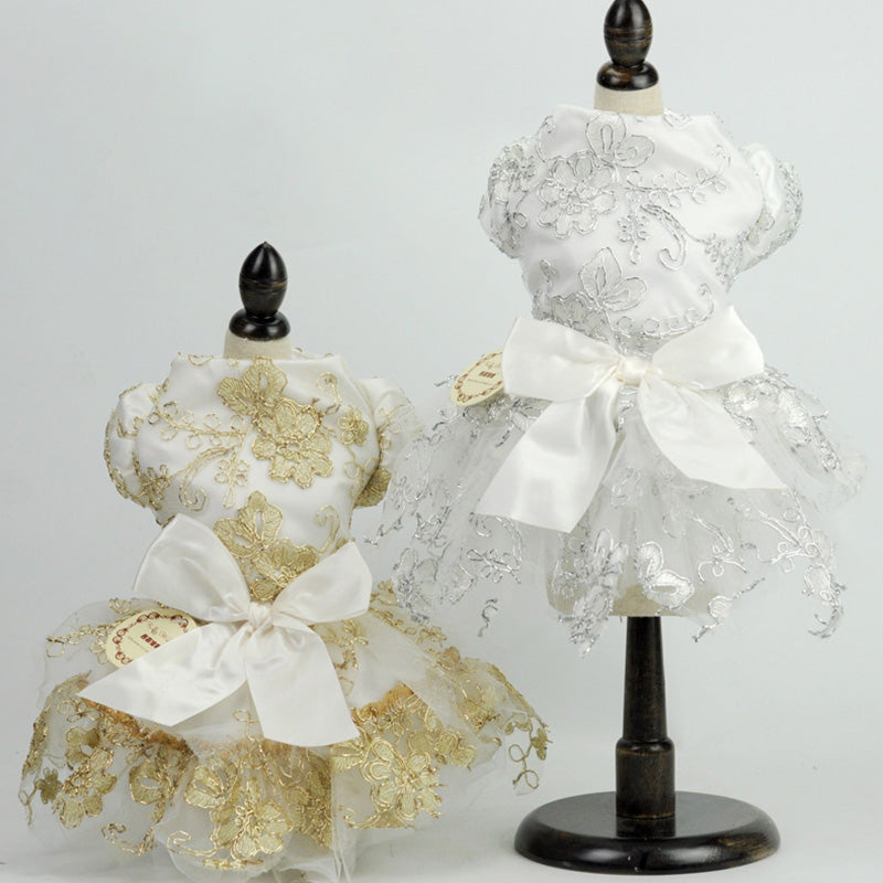 Elegant Floral Lace Bow Spring Outfit Small Dog Dress