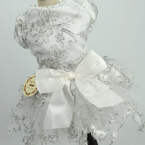 Elegant Floral Lace Bow Spring Outfit Small Dog Dress - Woof Apparel