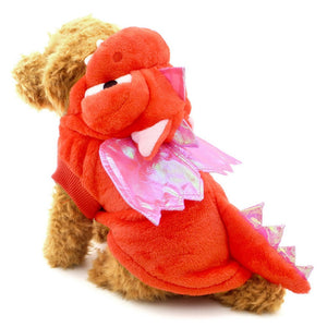 Cute Red Dragon Pink Wings Costume for Dog - Woof Apparel