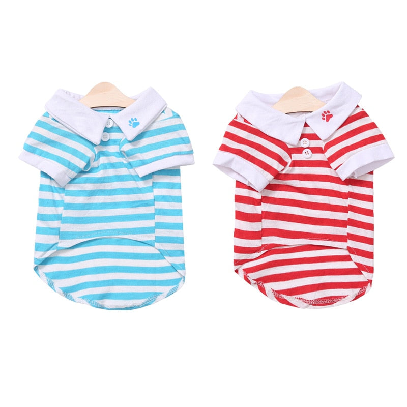 Cute Paw Print Collar Stripe Spring Small Dog Shirt - Woof Apparel
