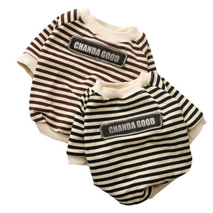 Cute Classic Striped Cotton Outfit Warm Puppy Sweatshirt - Woof Apparel