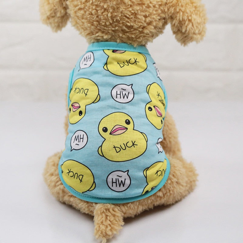 Cute Duck Design Pattern Summer Small Dog Tank Top - Woof Apparel