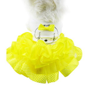 Princess Dog Bow Ribbon Cotton Mesh Tutu Skirt Dog Dress - Woof Apparel