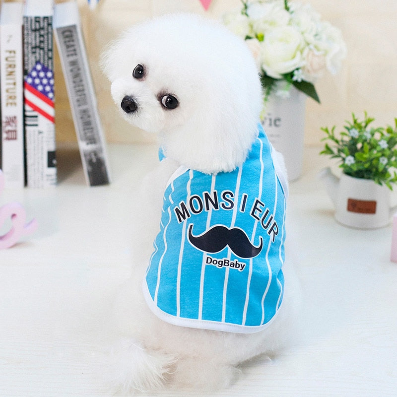 Monsieur Mustache Striped Light Color Summer Dog Shirt - Woof Apparel