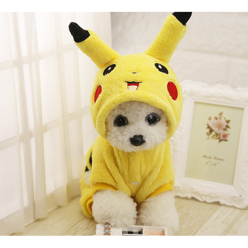 Cute Pikachu Pokemon Hoodie Cosplay Costume for Dog - Woof Apparel