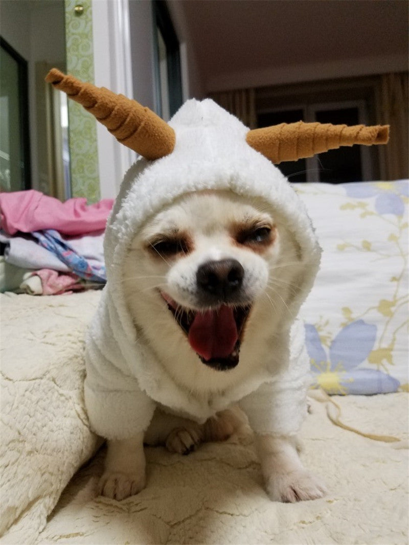 Fluffy Little Sheep With Mini Horn Cute Onesie Costume For Dog Woof Apparel