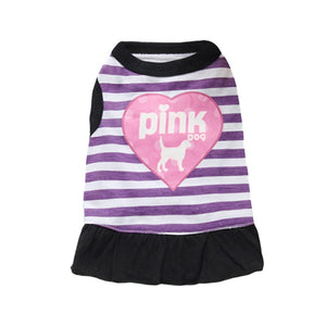 Pink Dog Heart Design Stripe Summer Cotton Puppy Dress - Woof Apparel