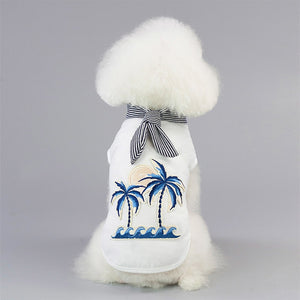 Ocean View Design With Stripe Scarf Small Dog Shirt - Woof Apparel