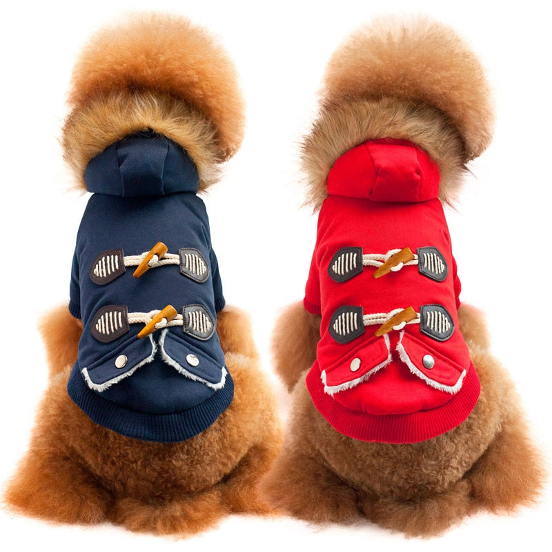 Cozy Fur Collar Chinese Style Winter Coat Puppy Jacket - Woof Apparel