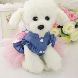 Fashion Jeans Cute Bow Princess Skirt Summer Puppy Dress - Woof Apparel