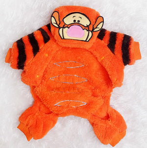 Fluffy Soft Fleece Tiger Orange Jumpsuit Costume For Dog - Woof Apparel