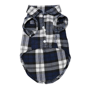 Plaid Collar Button Checkered Summer Outfit Puppy Shirt - Woof Apparel
