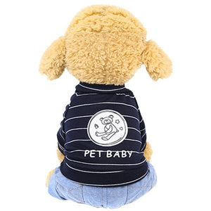 Adorable Stripe Pet Baby Bear Print Jeans Puppy Jumpsuit - Woof Apparel