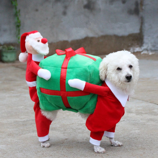 Christmas Dog Funny Santa Claus Costume Woof Apparel