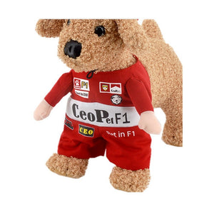Cool F1 Racing Driver  Red Jumpsuit Costume With Hat For Dog - Woof Apparel