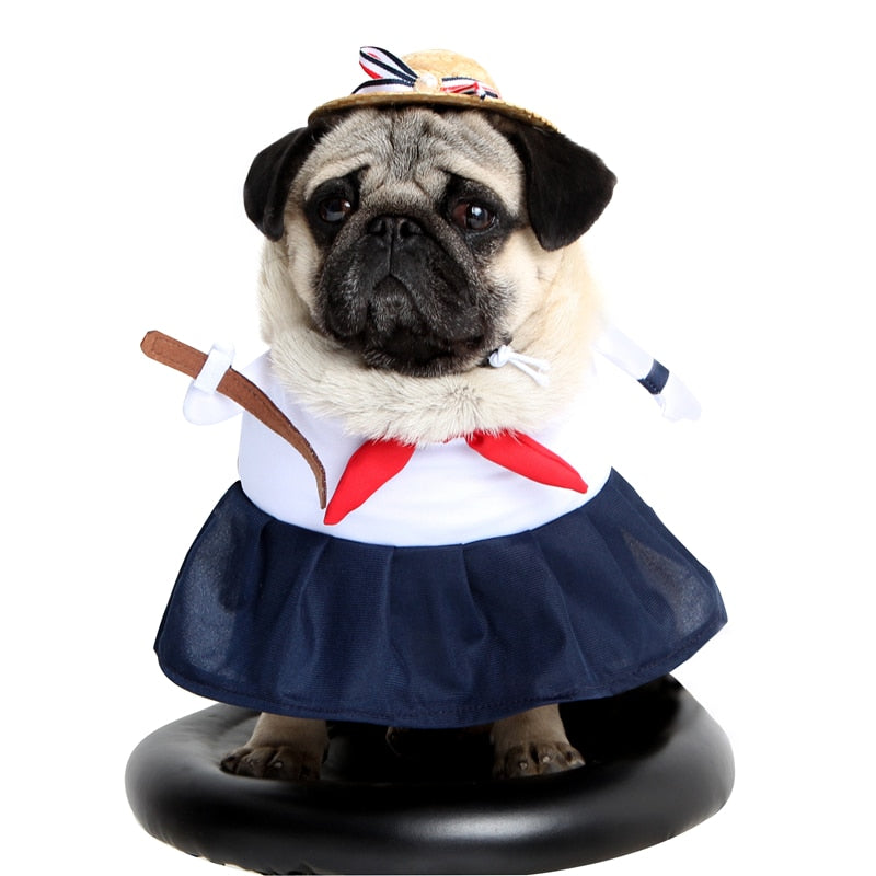Sailor Costume With Red Bowknot For Your Cats And Dogs