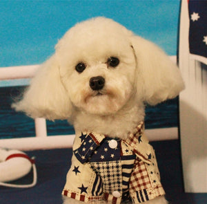 Stripes Star Patchwork Summer Formal Small Dog Shirt - Woof Apparel