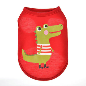 Striped Shirt Alligator Print Red Summer Puppy Tank Top - Woof Apparel