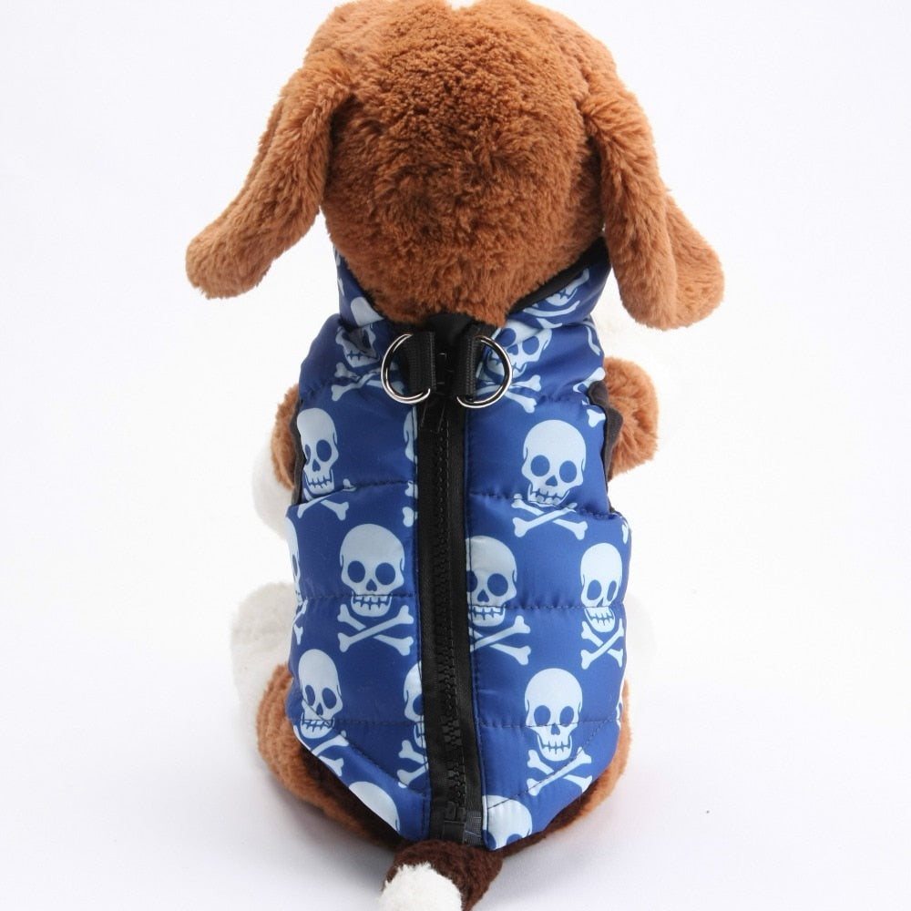 Blue Skull Pattern Windproof Jacket Outfit Puppy Vest - Woof Apparel