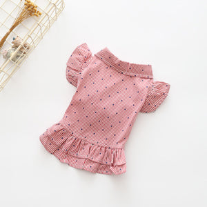Charming Striped Polka Dot Ruffle Skirt Small Dog Dress - Woof Apparel