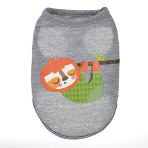 Lazy Hanging Sleepy Sloth Summer Gray Puppy Tank Top - Woof Apparel