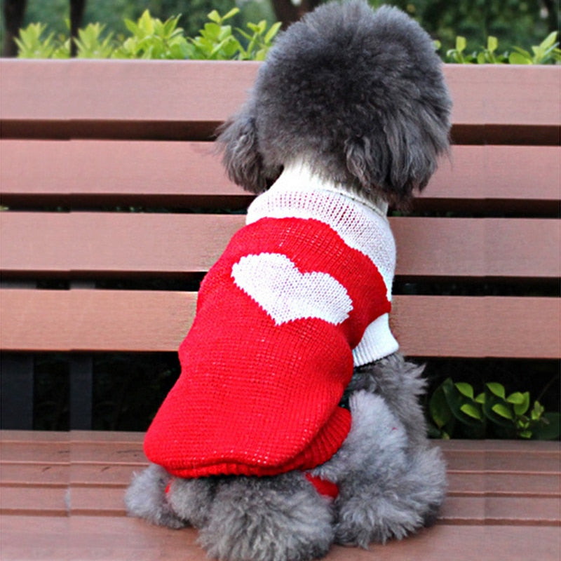 Cute Heart Winter Knitted Crochet Small Dog Sweater - Woof Apparel