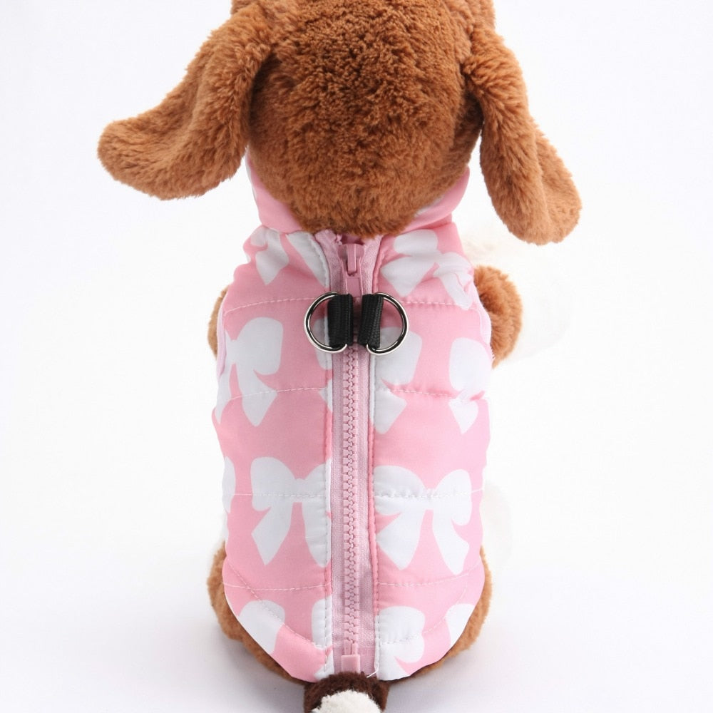 Pink Ribbon Pattern Padded Jacket Outfit Puppy Vest - Woof Apparel
