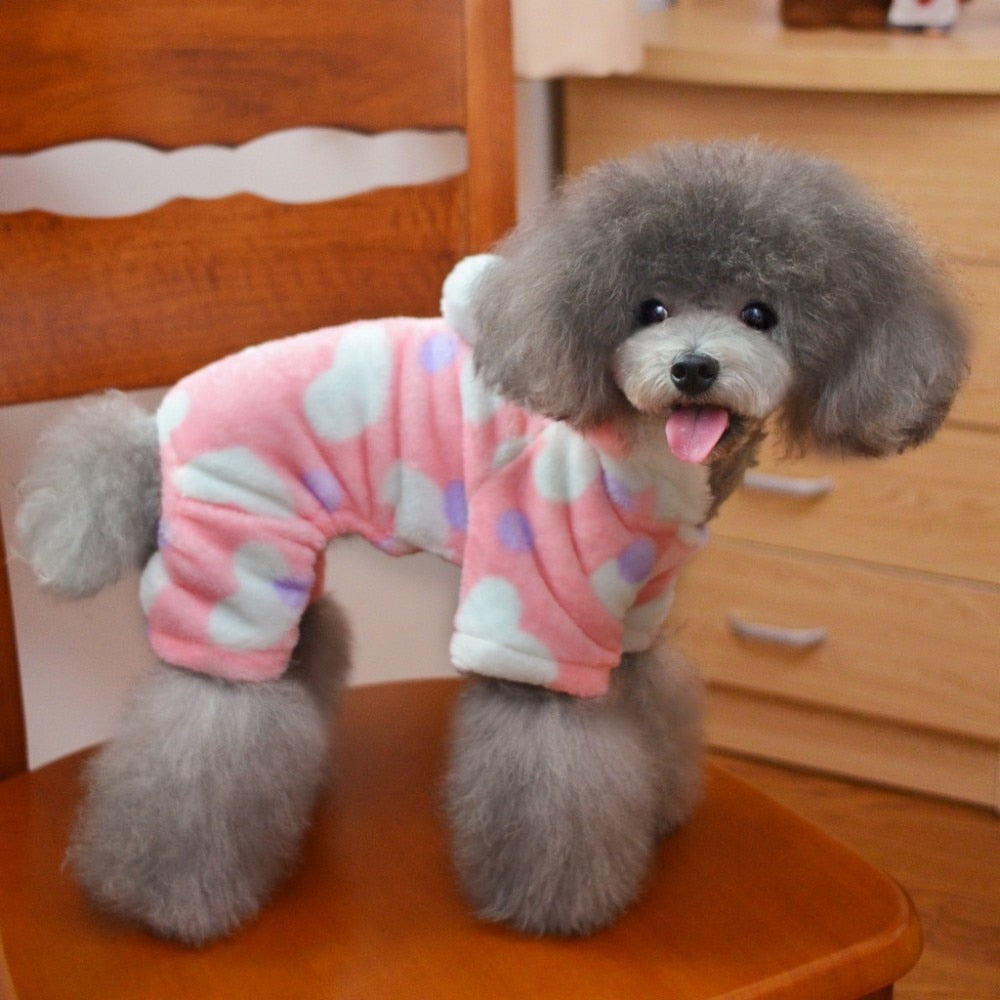 Adorable Pink Polka Design Warm Coat Puppy Jumpsuit - Woof Apparel