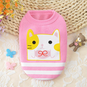 Cute Cat Cartoon Print Pink Spring Small Dog Tank Top - Woof Apparel