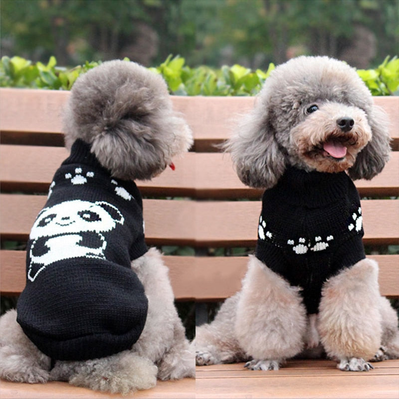 Black Panda Knitted Crochet Winter Small Dog Sweater - Woof Apparel
