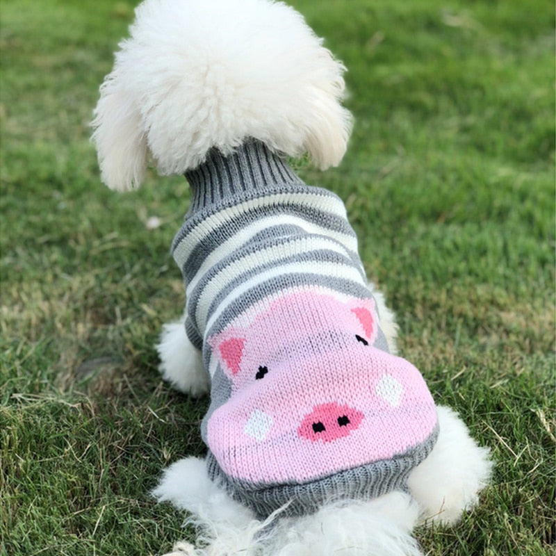 Pink Pig Striped Knitted Crochet Gray Small Dog Sweater Woof Apparel