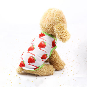 Strawberry Print Green Lining Spring Puppy Tank Top