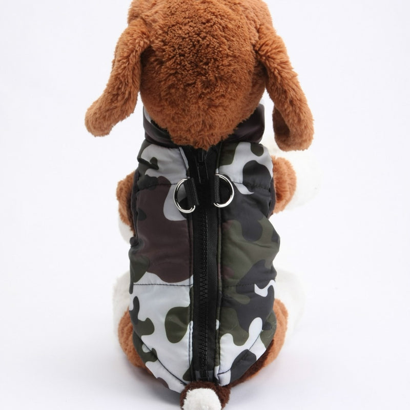 Green Camouflage Pattern Padded Jacket Outfit Puppy Vest - Woof Apparel