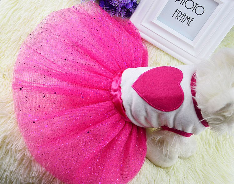 Fashionable Heart Summer Glittery Tutu Small Dog Dress - Woof Apparel