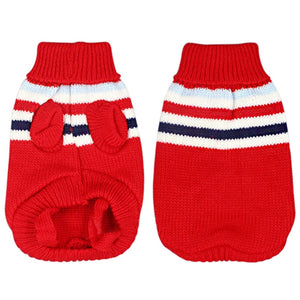 Cool Stripe Knitted Crochet Winter Outfit Puppy Sweater - Woof Apparel