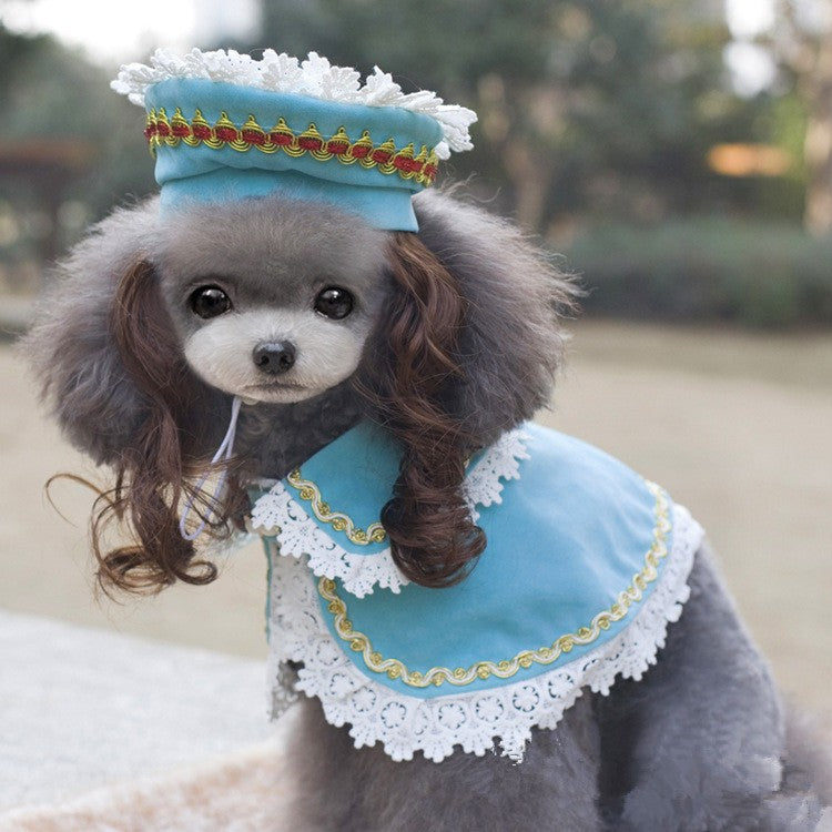 Cute Royal Princess Vintage Cape and Hat Costume For Dogs - Woof Apparel