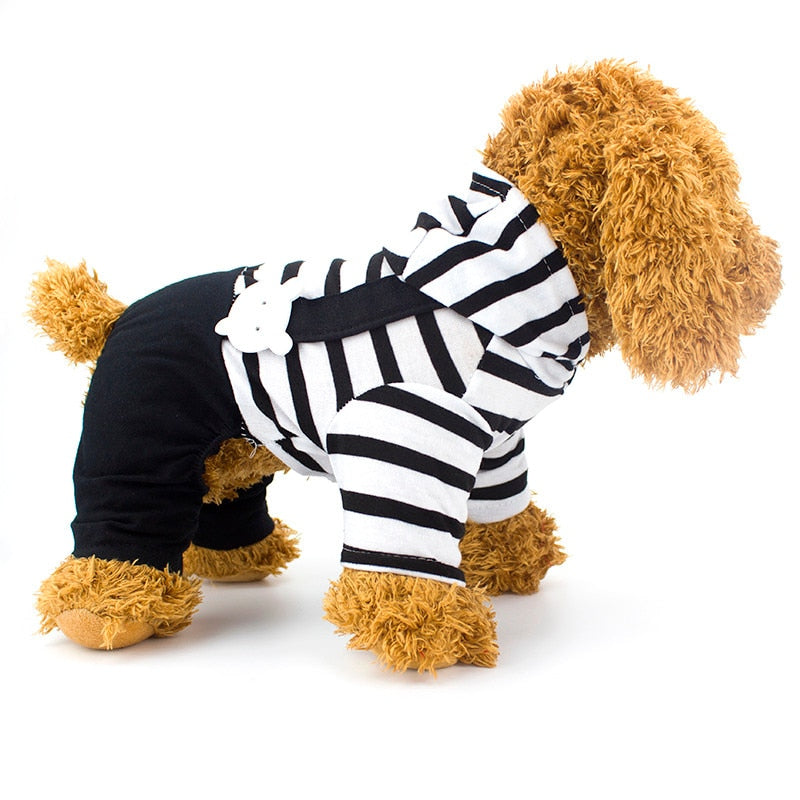 Fashionable Striped Cotton Puppy Hooded Coat Jumpsuit - Woof Apparel