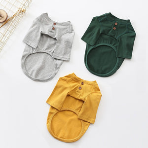 Cute Two Button Plain Cotton Spring Small Dog Shirt - Woof Apparel