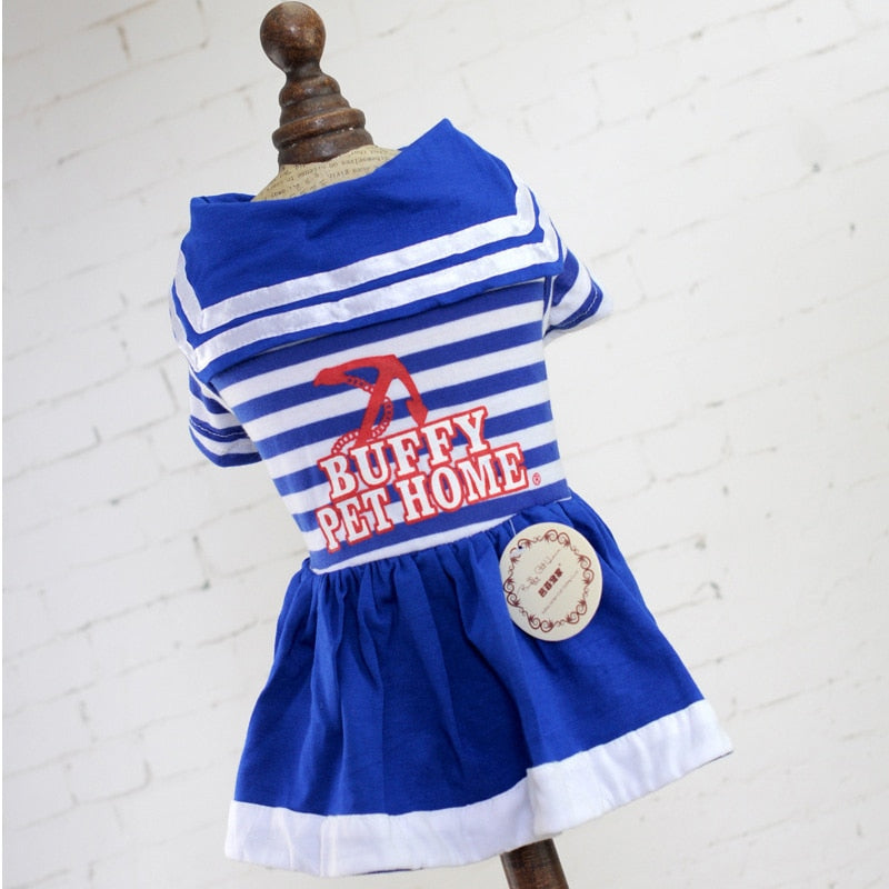 Cuddly Striped Navy Plain Skirt Summer Small Dog Dress - Woof Apparel