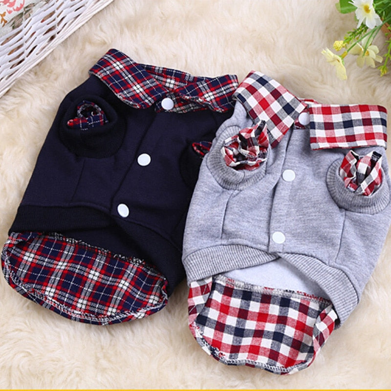 Warm Grid Checkered Collar Puppy Clothing Sweatshirt - Woof Apparel